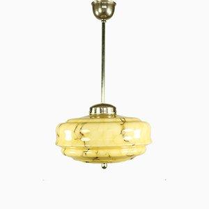 Lampe à Suspension Mid-Century en Marbre et Verre