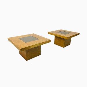 Mesas auxiliares de madera nudosa, años 70. Juego de 2