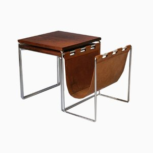 Rosewood Nesting Tables with Leather Magazine Holder from Brabantia, 1960s