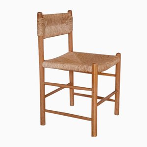 Vintage Dining Chair with Rush Seat, 1950s