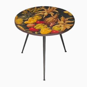 Mid-Century Side Table with Vegetable Print, 1950s