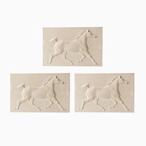 Vintage Arabisches Pferd auf Gips von Jochen Ihle, 1974, 3er Set