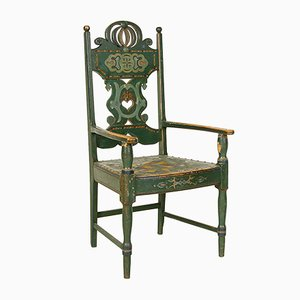 19th Century Swedish Folk Art Painted Armchair