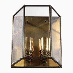 Wandleuchte aus Messing & angeschrägtem Glas, 1980er