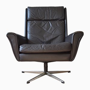 Mid-Century Danish Leather Swivel Chair, 1960s