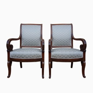 Antique Rosewood Charles X Style Chairs by Jeanselme, Set of 2