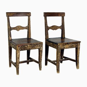 19th-Century Swedish Pitch Pine Vernacular Chairs, Set of 2