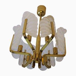 Lámpara de araña de latón y vidrio de Carl Fagerlund para Orrefors, años 60