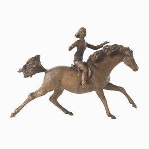 Escultura de poni galopante vintage de bronce de Jochen Ihle, años 70