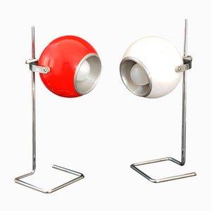 Space Age Eyeball Tischlampen aus Stahl, 1970er, 2er Set