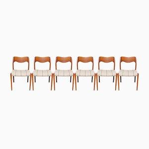 Danish Model 71 Teak Dining Chairs by Niels Otto Møller for JL Moller, 1970s, Set of 6