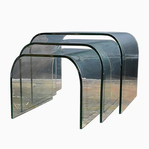 Tavolini ad incastro in vetro, anni '80