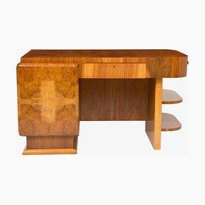 Großer Art Déco Schreibtisch aus Nussholz, 1930er