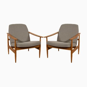 Czech Grey Armchairs from TON, 1960s, Set of 2