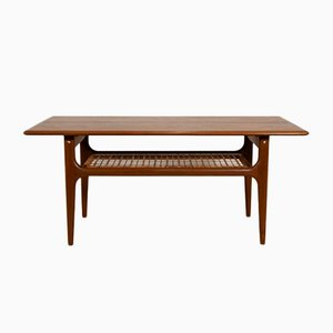 Mid-Century Danish Teak & Raffia Table, 1960s