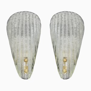 Italian Ribbed Murano Glass Wall Lamps from Barovier & Toso, 1960s, Set of 2