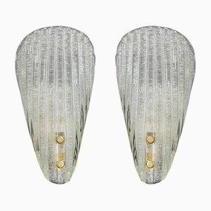 Lámparas de pared italianas de cristal de Murano acanalado de Barovier & Toso, años 60. Juego de 2