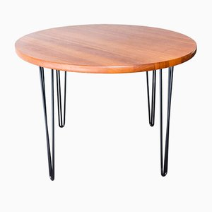 Round Teak Dining Table with Steel Legs, 1960s