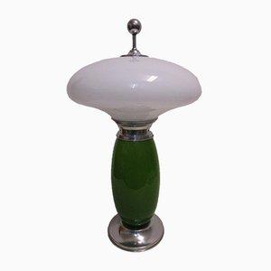 Lámpara de mesa italiana grande de vidrio y aluminio pulido, años 50