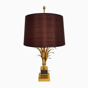 Lampe de Bureau avec Feuilles de Palmier Hollywood Regency Mid-Century en Laiton de S.A. Boulanger, 1960s