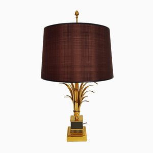 Mid-Century Hollywood Regency Style Brass Palm Leaf Table Lamp from S.A. Boulanger, 1960s