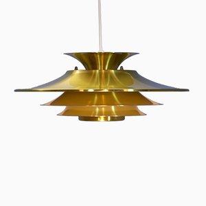 Lámpara colgante danesa de latón, años 70