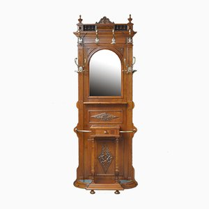 Antique Walnut Hall Stand, 1890s