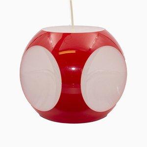 Lámpara de techo cúbica roja de Luigi Colani, años 70