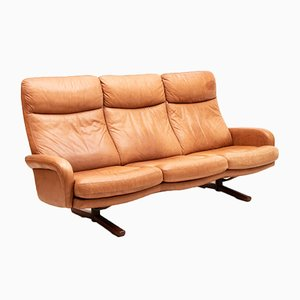 Vintage Swiss Tan Aniline Leather Sofa
