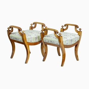 19th Century Swedish Birch Stools, Set of 2