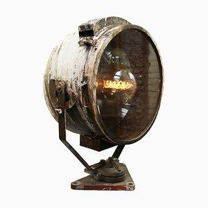 Lámpara de pie Mid-Century de hierro oxidado y vidrio, años 50