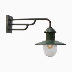 Vintage Industrial Green Enameled Cast Iron & Frosted Glass Wall Lamp, 1950s