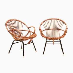 Vintage Cane Armchairs, Set of 2