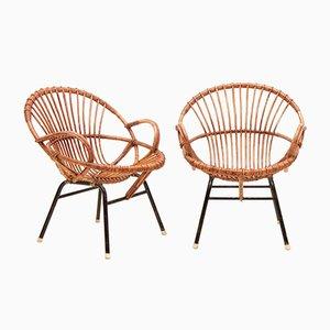 Vintage Sessel aus Rohrgeflecht, 2er Set