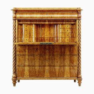 Escritorio de madera nudosa sueca de abedul, siglo XIX