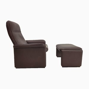 Vintage DS 50 Swiss Buffalo Leather Lounge Chair and Ottoman from de Sede, 1980s, Set of 2