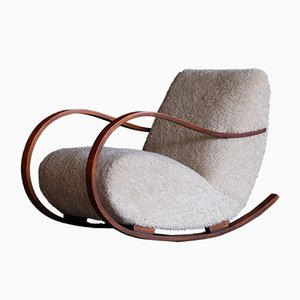 Swedish Sheepskin Rocking Chair, 1950s