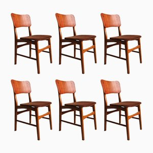 Danish Modern Teak Chairs on Oak Legs by Ib Kofod Larsen, 1960s, Set of 6