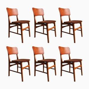 Moderne dänische Stühle aus Teak mit Beinen aus Eiche von Ib Kofod Larsen, 1960er, 6er Set