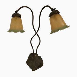 Lampe de Bureau Liberty en Bronze avec Abat-Jour en Verre de Murano, 1930s