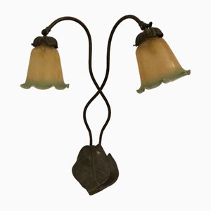 Liberty Tischlampe aus Bronze & Schirmen aus Muranoglas 1930er