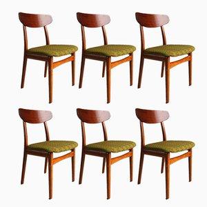 Moderner Stuhl aus Teak mit Beinen aus Teak im skandinavischen Stil von Henning Kjærnulf für Bruno Hansen, 1950er, 6er Set