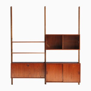 Mid-Century Danish Teak Wall Unit with Bar & Glass Cabinet, 1960s
