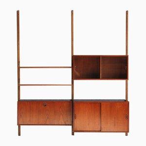 Mueble de pared danés Mid-Century de teca con mueble bar, años 60