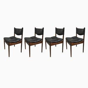 Dänische Mid-Century Stühle mit Gestell aus Rio-Palisander & schwarzem Ledersitz von Kristian Vedel für Søren Willadsen Møbelfabrik, 1960er, 4er Set