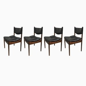 Mid-Century Danish Rio Palisander & Black Leather Chairs by Kristian Vedel for Søren Willadsen Møbelfabrik, 1960s, Set of 4