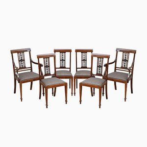 Antike edwardianische Esszimmerstühle aus Mahagoni, 6er Set