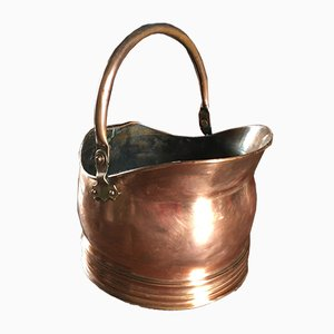 Antique Red Brass and Copper Coal Scuttle, 1890s