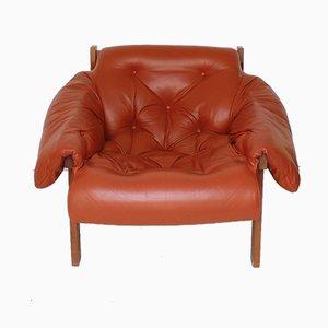 Geschwungener Mid-Century Sessel aus cognacfarbenem Leder, 1970er