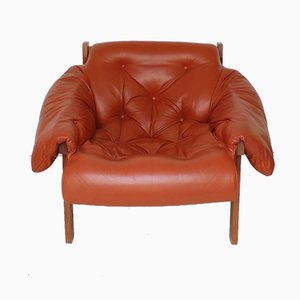 Mid-Century Tufted Cognac Leather Lounge Chair, 1970s